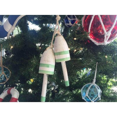Wooden Decorative Maine Lobster Trap Buoy Christmas Ornament Color: Vintage Light Green