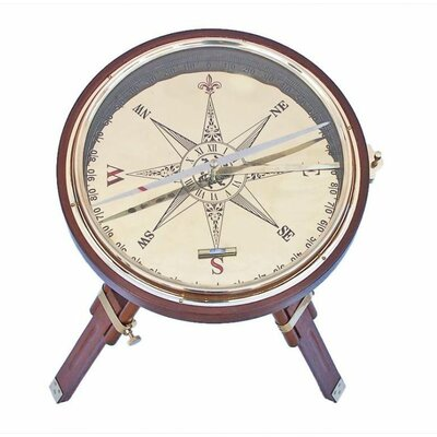 Compass End Table Color: Wooden Brass