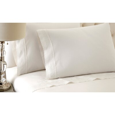 Sylvia 250 Thread Count Sheet Set Size: King, Color: White