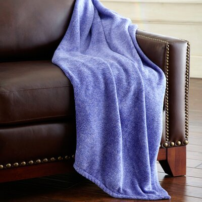 Heathered Solid Fleece Throw Blanket Color: Blue