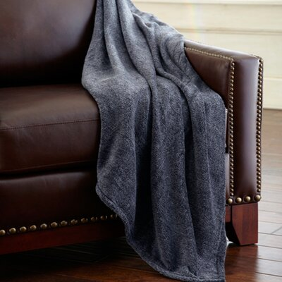 Heathered Solid Fleece Throw Blanket Color: Gray