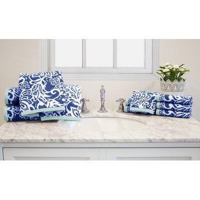 Yarn-Dyed Jacquard 10 Piece Cotton Towel Set Color: Blue