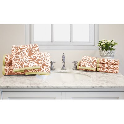 Yarn-Dyed Jacquard 10 Piece Cotton Towel Set Color: Coral