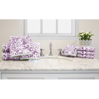 Yarn-Dyed Jacquard 10 Piece Cotton Towel Set Color: Lilac