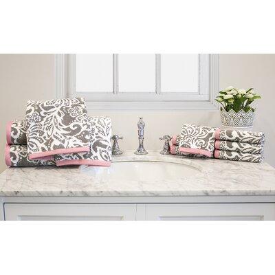 Yarn-Dyed Jacquard 10 Piece Cotton Towel Set Color: Pink