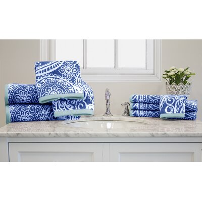 Yarn-Dyed Jacquard 10 Piece Towel Set Color: Blue