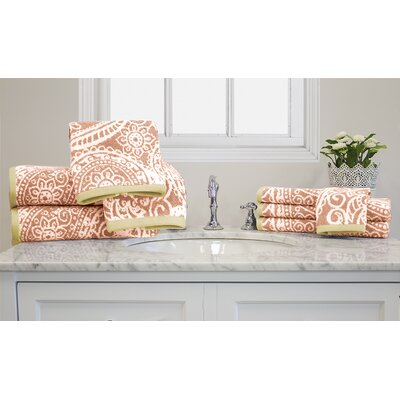 Yarn-Dyed Jacquard 10 Piece Towel Set Color: Coral