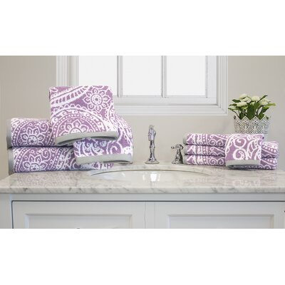 Yarn-Dyed Jacquard 10 Piece Towel Set Color: Lilac