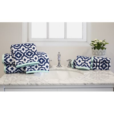 Yarn-Dyed Jacquard Geometric 10 Piece Towel Set Color: Blue