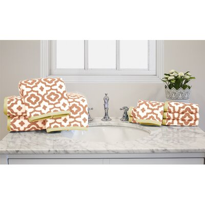 Yarn-Dyed Jacquard Geometric 10 Piece Towel Set Color: Coral