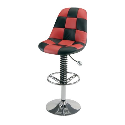 Racing Style Adjustable Height Swivel Bar Stool Upholstery: Red