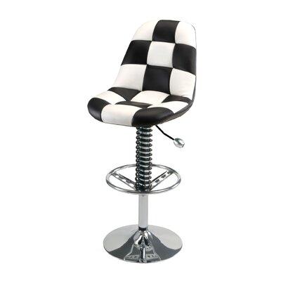 Racing Style Adjustable Height Swivel Bar Stool Upholstery: White