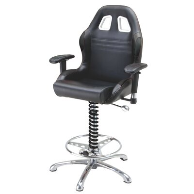 Racing Style Adjustable Height Swivel Bar Stool Upholstery: Black