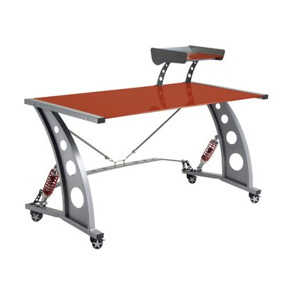 Pit Stop Furniture Racing Style Computer Desk with Glass Top and Glass Spoiler Shelf - Finish: Red
