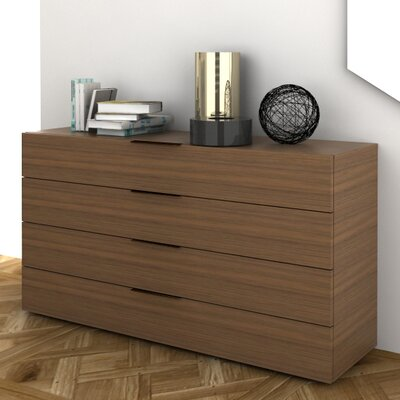 Spazio 4 Drawer Dresser Color: Walnut