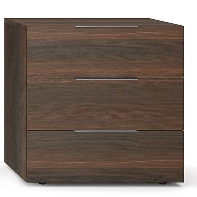 Spazio 3 Drawer Nightstand Finish: Burnt Oak