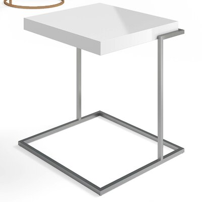 Servoquadro End Table Table Top Color: White Matt, Table Base Color: Black Titanium