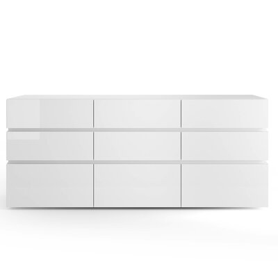 People 9 Drawer Dresser Color: White High Gloss / White Spacer