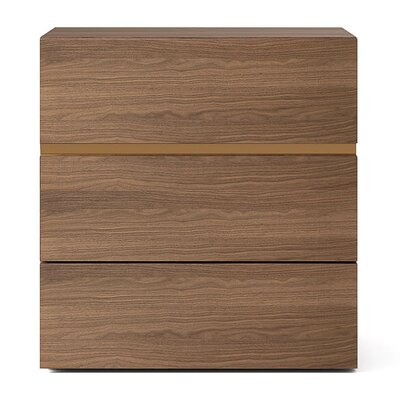 People 3 Drawer Nightstand Color: Walnut