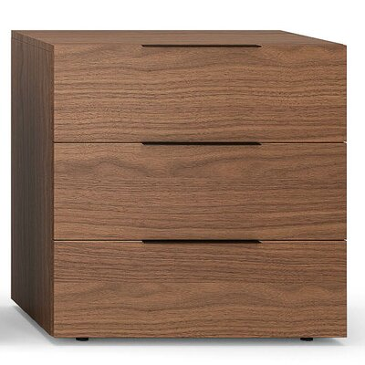 Spazio 3 Drawer Nightstand Color: Walnut