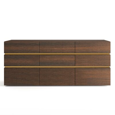 People 9 Drawer Dresser Color: Burnt Oak / Gold Spacer