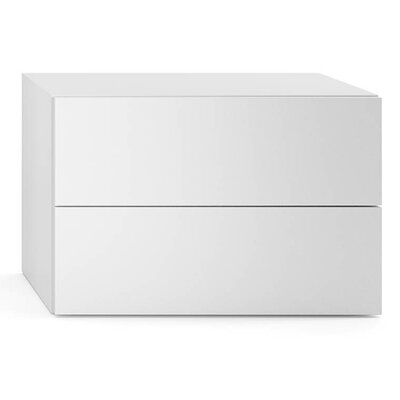 People 2 Drawer Nightstand Color: White High Gloss