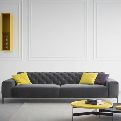 Boston Capitonn� with Tufted Back Sofa Upholstery: Fabric - Dark Grey