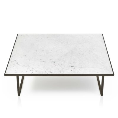 Icaro Coffee Table Table Top Color: High Gloss Emperador Marble, Table Base Color: Bronze