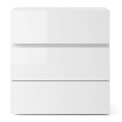 People 3 Drawer Nightstand Color: White High Gloss
