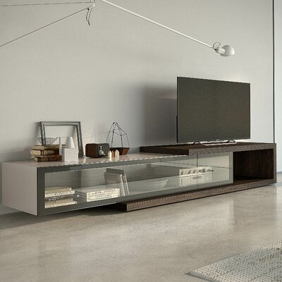 People 97 TV Stand Color: Burnt Oak / Tortora High Gloss