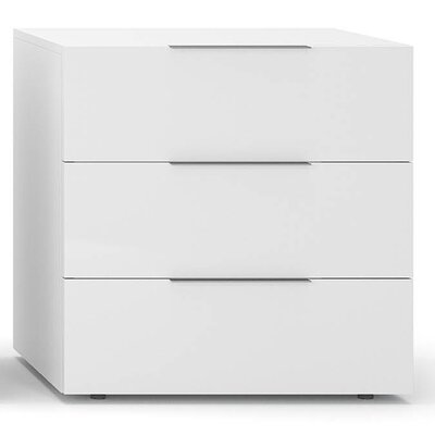 Spazio 3 Drawer Nightstand Finish: White High Gloss