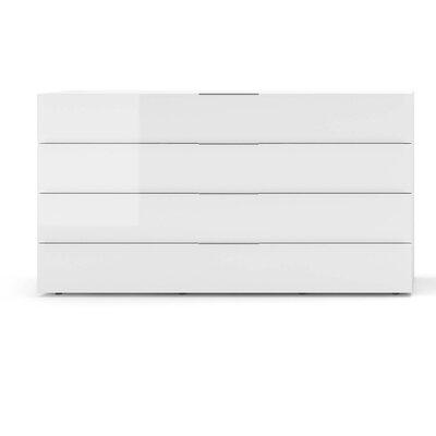 Spazio 4 Drawer Dresser Color: White High Gloss / Black Titanium