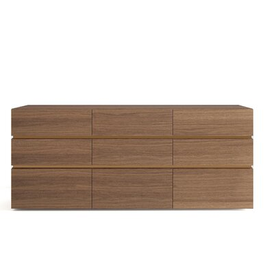 People 9 Drawer Dresser Color: Walnut / Bronze Spacer