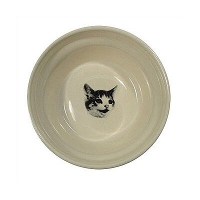 Ridged Happy Cat Bowl Color: Creme