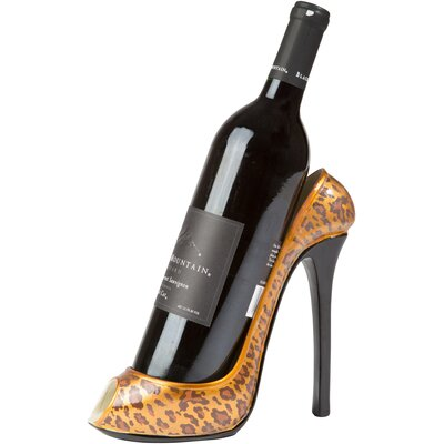 Leopard Print High Heel 1 Bottle Tabletop Wine Rack