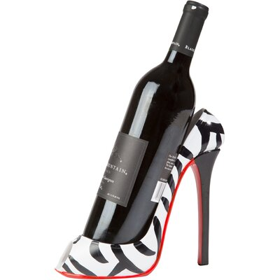 Zebra Print High Heel 1 Bottle Tabletop Wine Rack