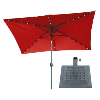 6.5 x 10 Rectangular Illuminated Umbrella Fabric: Red