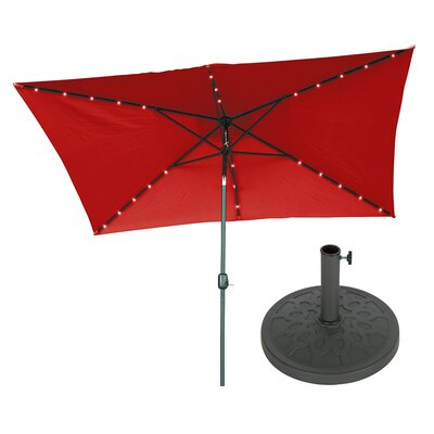 6.5 x 10 Rectangular Illuminated Umbrella Fabric: Red
