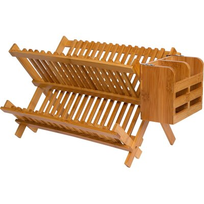 Folding Dish Rack with Utensil Holder BAMBDISH-HOLDER
