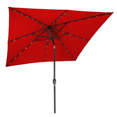 8 Square Illuminated Umbrella Color: Red
