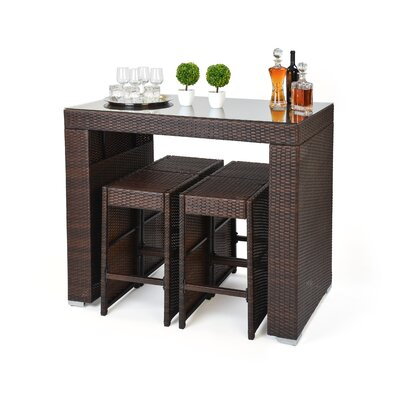 5 Piece Dining Table and Bar Stool Set Finish: Brown