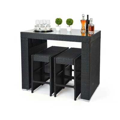 5 Piece Dining Table and Bar Stool Set Finish: Black