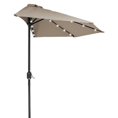 9 LED Half Illuminated Umbrella Fabric: Tan