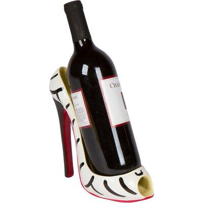 Zebra High Heel 1 Bottle Tabletop Wine Holder