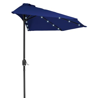 9 LED Half Illuminated Umbrella Fabric: Blue