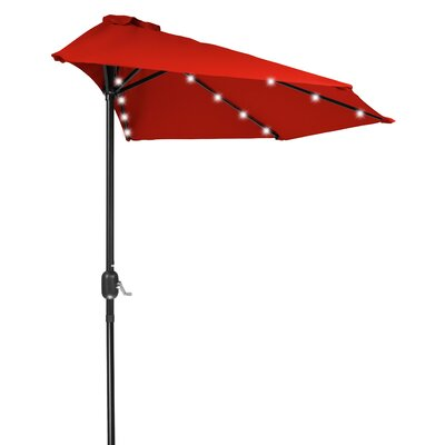 9 LED Half Illuminated Umbrella Fabric: Red