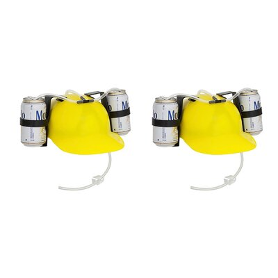 Beer and Soda Helmet Drinking Hat EZ-HELMET-YELLOW-2X