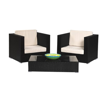 3 Piece Rattan Lounge Seating Group Finish: Black
