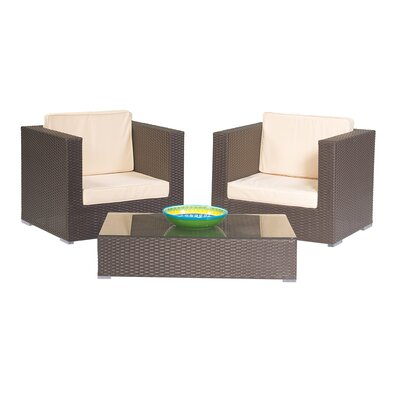 3 Piece Rattan Lounge Seating Group Finish: Light Brown