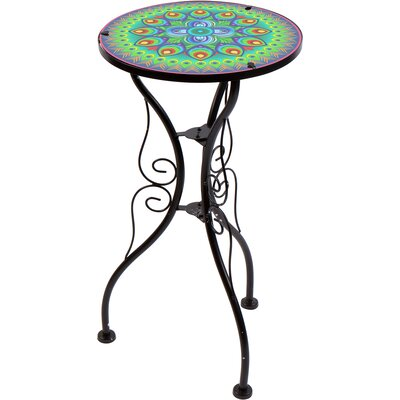 22 Peacock Design Glass and Metal End Table